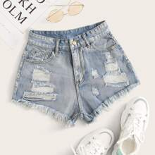 Shorts denim rotos bajo crudo - grande