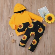 Baby Girl Sunflower Print Hoodie & Sweatpants