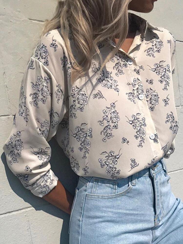 Vintage Floral Printed Long Sleeve Lapel Collar Blouse