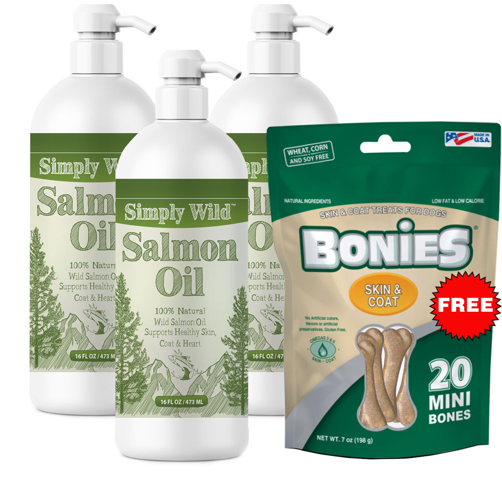 Simply Wild Salmon Oil 3-PACK (48 fl oz) + Free BONIES Skin and Coat Health MINI (20 Bones 7 oz)