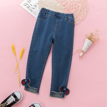 Toddler Girls Raw Hem Double Bow Jeans