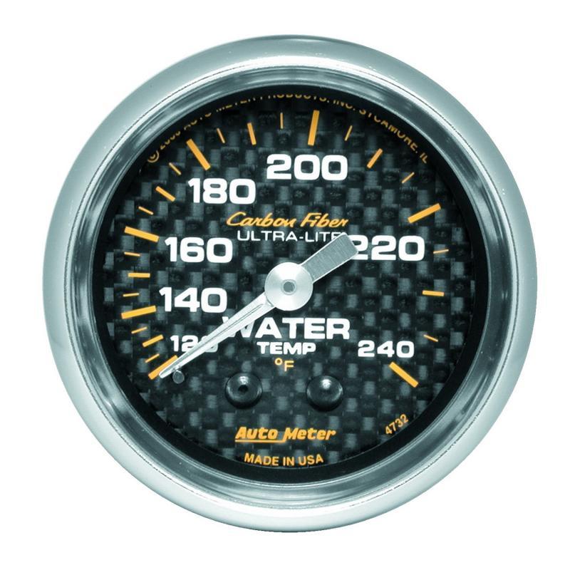 AutoMeter GAUGE; WATER TEMP; 2 1/16in.; 120-240deg.F; MECHANICAL; CARBON FIBER