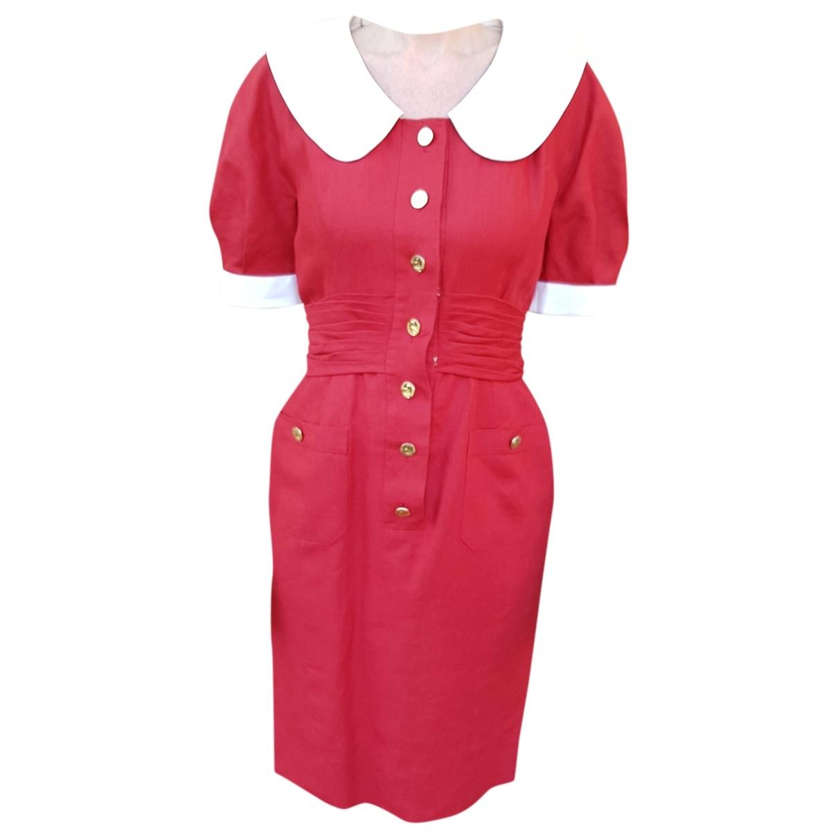 Chanel \N Red Linen dress for Women 36 FR