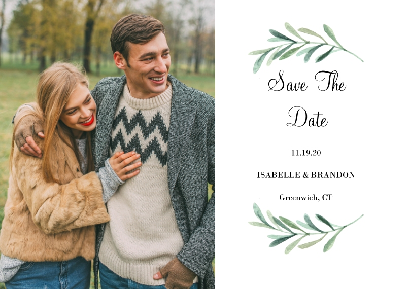 Save the Date 5x7 Cards, Premium Cardstock 120lb, Card & Stationery -Wedding Save the Date Foliage Wreath by Tumbalina