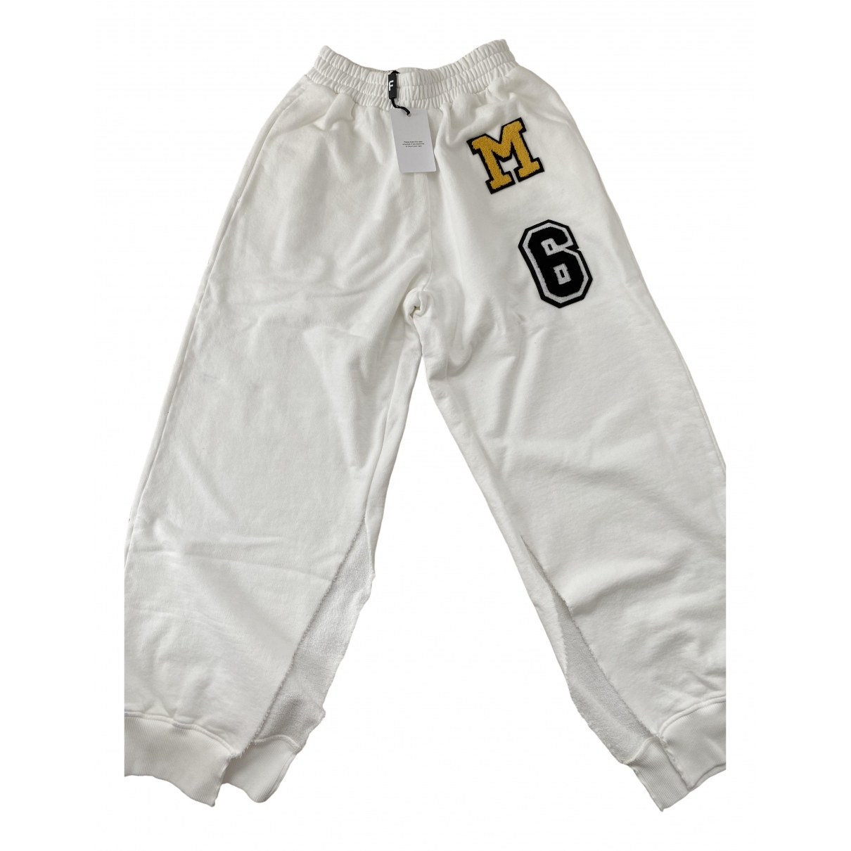 Mm6 \N White Cotton Trousers for Women XS International