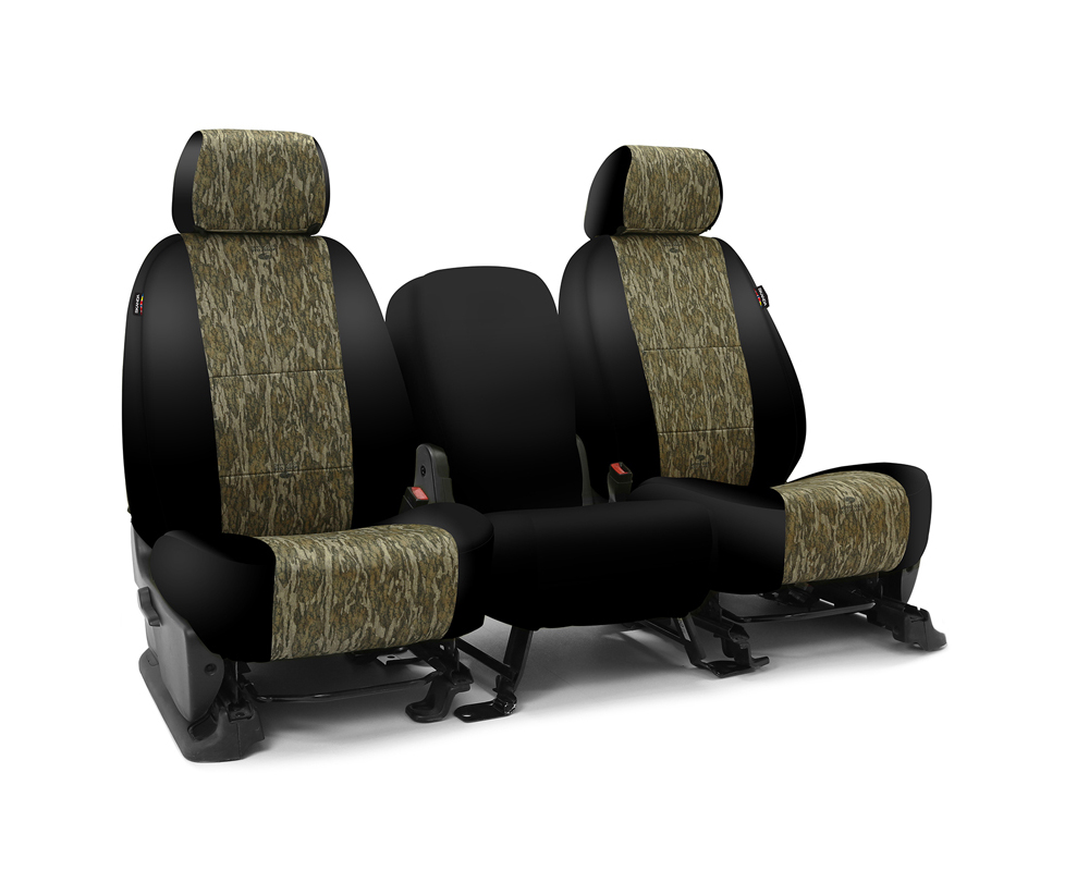 Coverking CSC2MO06GM9575 Skanda Custom Seat Covers 1 Row Neosupreme Mossy Oak Bottomland with Black Sides Rear GMC Sierra 1500 | 2500 2014-2018