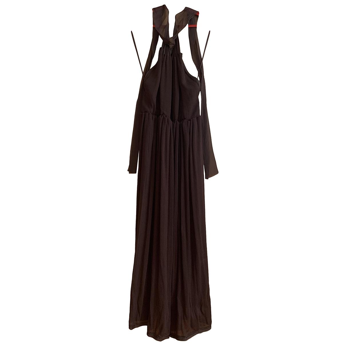 Yves Saint Laurent - Robe   pour femme en soie - marron