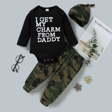 Baby Boy Slogan Graphic Bodysuit & Pants & Hat