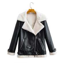 Flannel Lined Zipper PU Moto Jacket