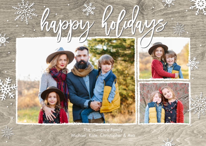 Holiday Photo Cards Flat Glossy Photo Paper Cards with Envelopes, 5x7, Card & Stationery -Holiday Woodgrain Snowflakes by Tumbalina