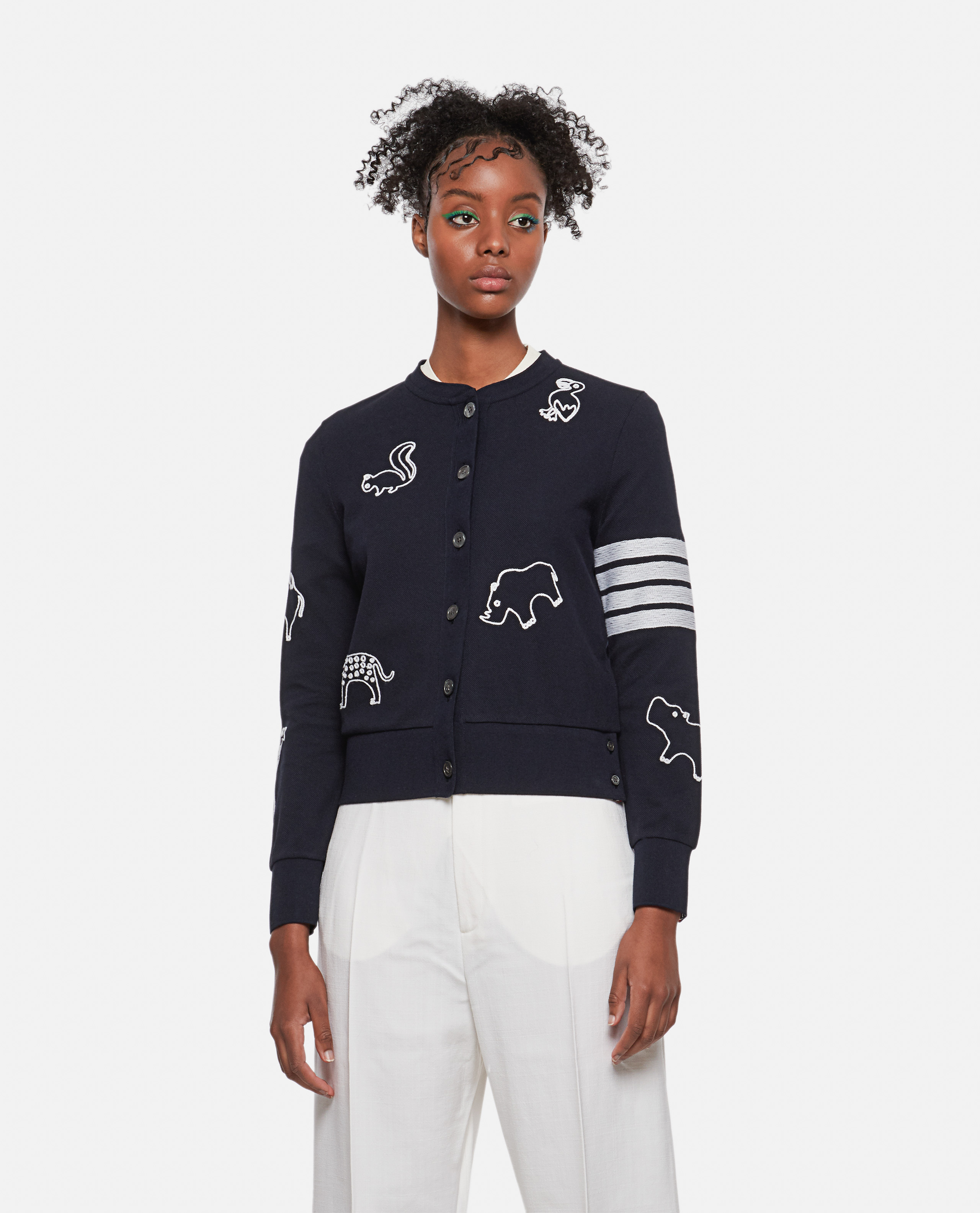 Cotton pique cardigan with animal embroidery