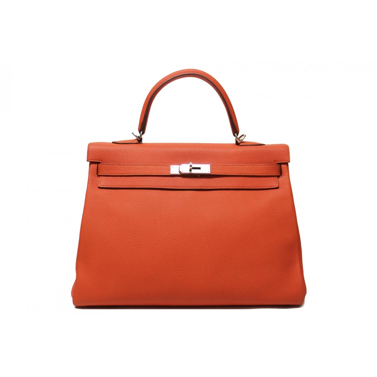 Hermès Kelly 35 Orange Leather handbag for Women \N
