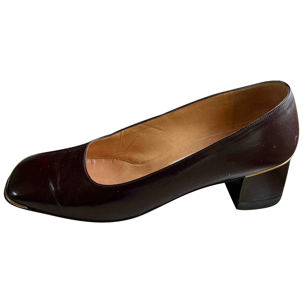 Celine - Escarpins   pour femme en cuir - bordeaux