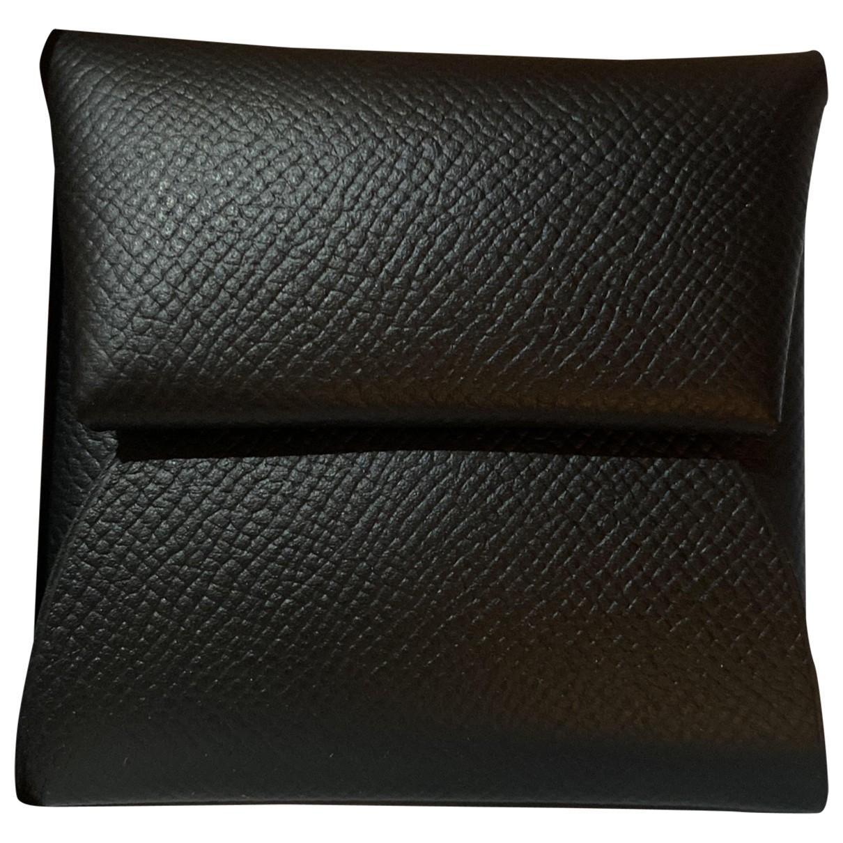 Hermès Bastia Black Leather Purses, wallet & cases for Women \N