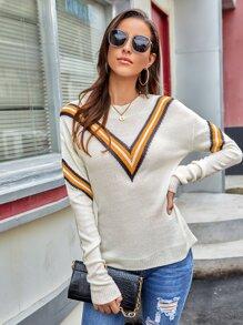 Chevron Pattern Round Neck Sweater