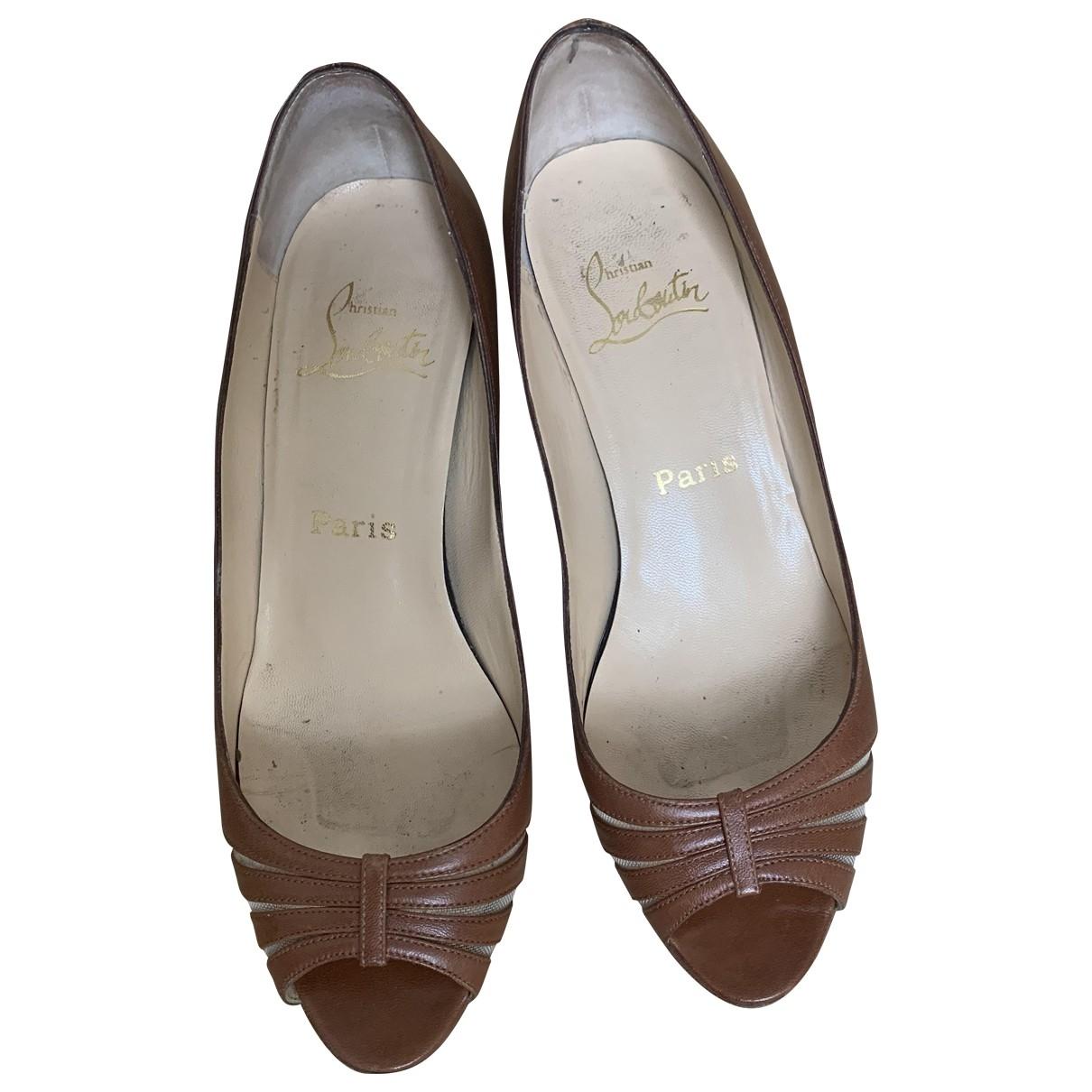 Christian Louboutin \N Brown Leather Heels for Women 36.5 EU