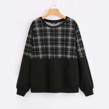 Sweatshirt mit Karo Muster und rundem Kragen