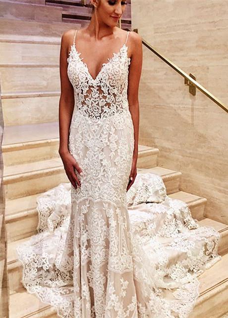 Glamoroso vestido de novia de novia con cuello en V de encaje blanco sirena delgada