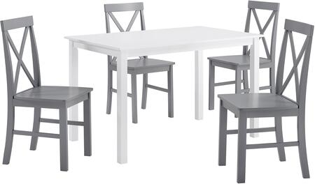 TW485PCXBGY 5-Piece Solid Wood Farmhouse Dining Set in White and