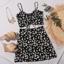 Falda con estampado floral con cremallera lateral