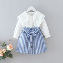 Toddler Girls Contrast Lace Blouse & Stripe Paperbag Belted Skirt