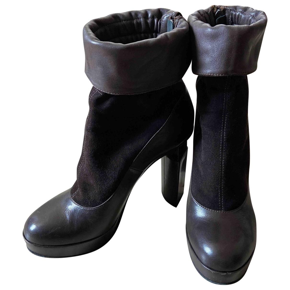 Fendi - Bottes   pour femme en cuir - marron