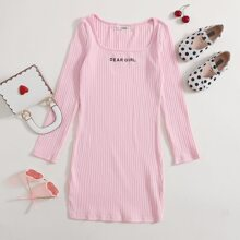 Girls Letter Embroidered Rib-knit Dress