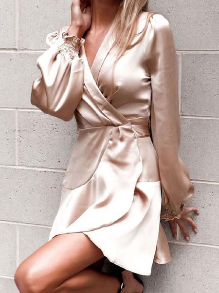 Milanoo Patinador vestidos de poliester con cuello en V de encaje hasta Champagne atractiva larga de las mangas en forma y vestido de la llamarada