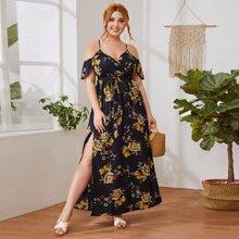 Vestido floral bajo con abertura alta de hombros descubiertos - grande