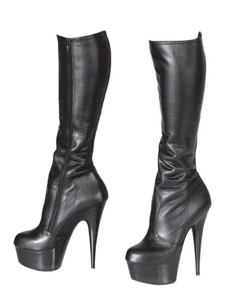 Milanoo Botas altas hasta la rodilla negras Plataforma para mujeres Botas sexy de tacon alto