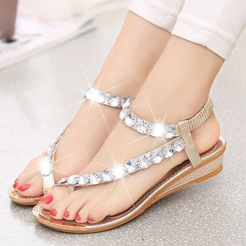 Ericdress Glittering Rhinestone Flat Sandals
