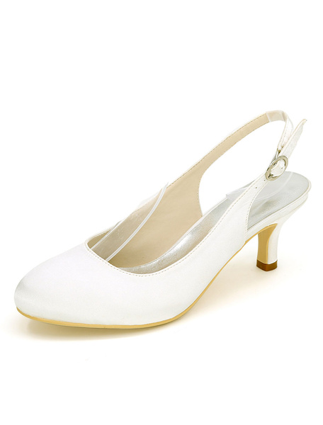 Milanoo Wedding Guest Shoes Silver Bridesmaid Shoes Satin Round Toe Slingbacks Wedding Shoes
