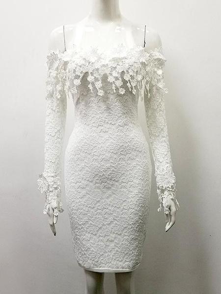 Milanoo Bardot Lace Sheath Dress White Women Long Sleeve Sexy Bodycon Dress