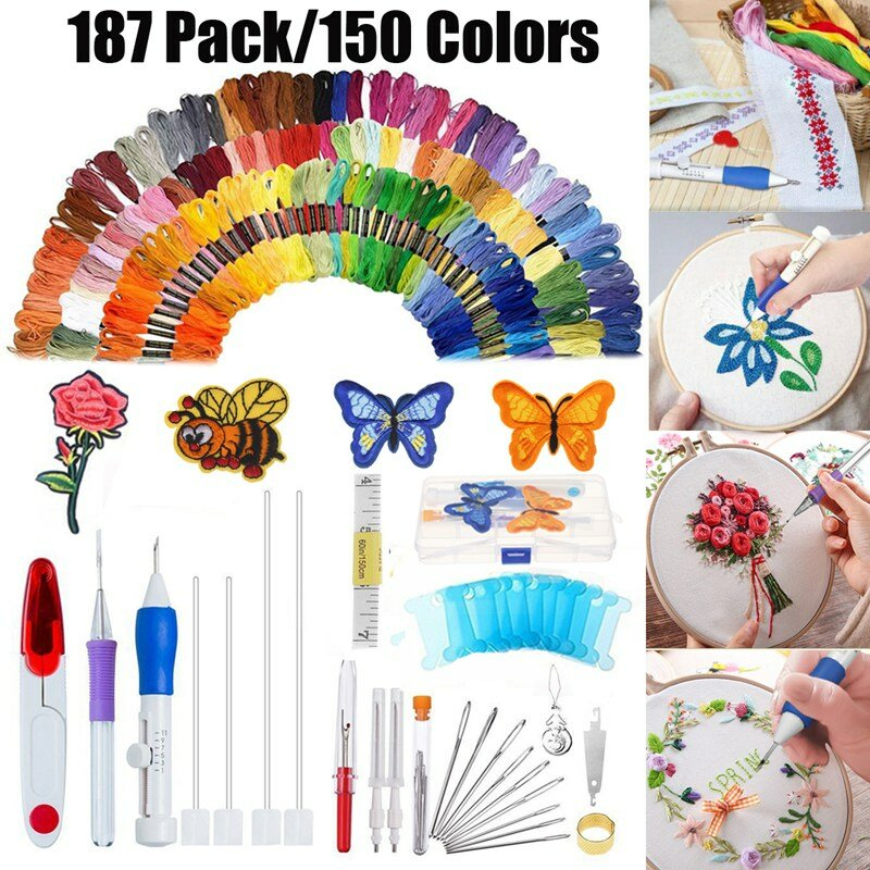 187 pcs/set Embroidery Kit Punch Needle Embroidery Patterns Punch Needle Kit Craft Tool Embroidery Pen Set Threads for S