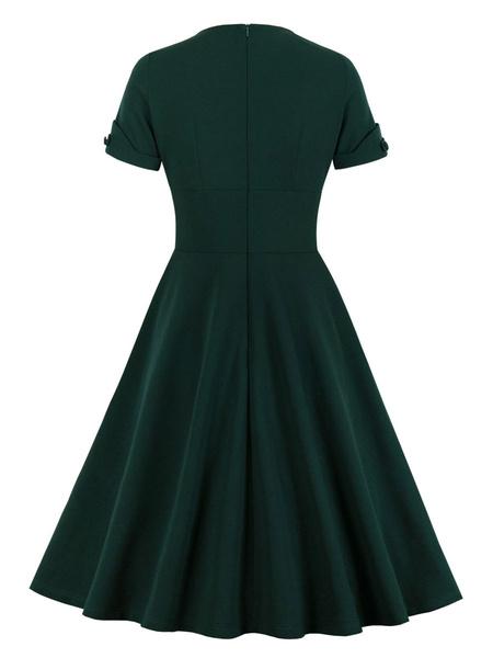 Milanoo Vintage Dress Womens Dark Green Short Sleeve 1950s Swing Retro Dresses