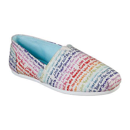 Skechers Bobs Womens Plush Inspire Me Slip-On Shoe, 6 Medium, White
