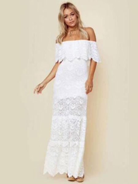 Milanoo White Lace Dress Bateau Neck Short Sleeves Shaping Lace Sexy Long Dress