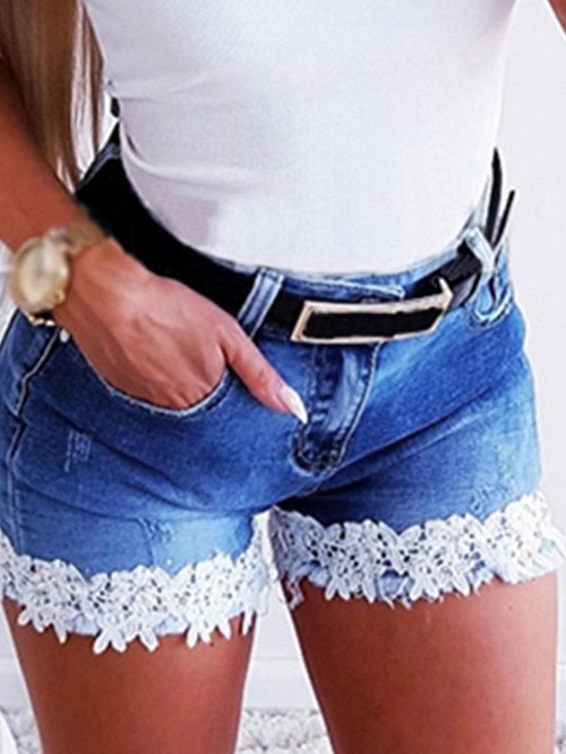Ericdress Patchwork Zipper Slim Shorts