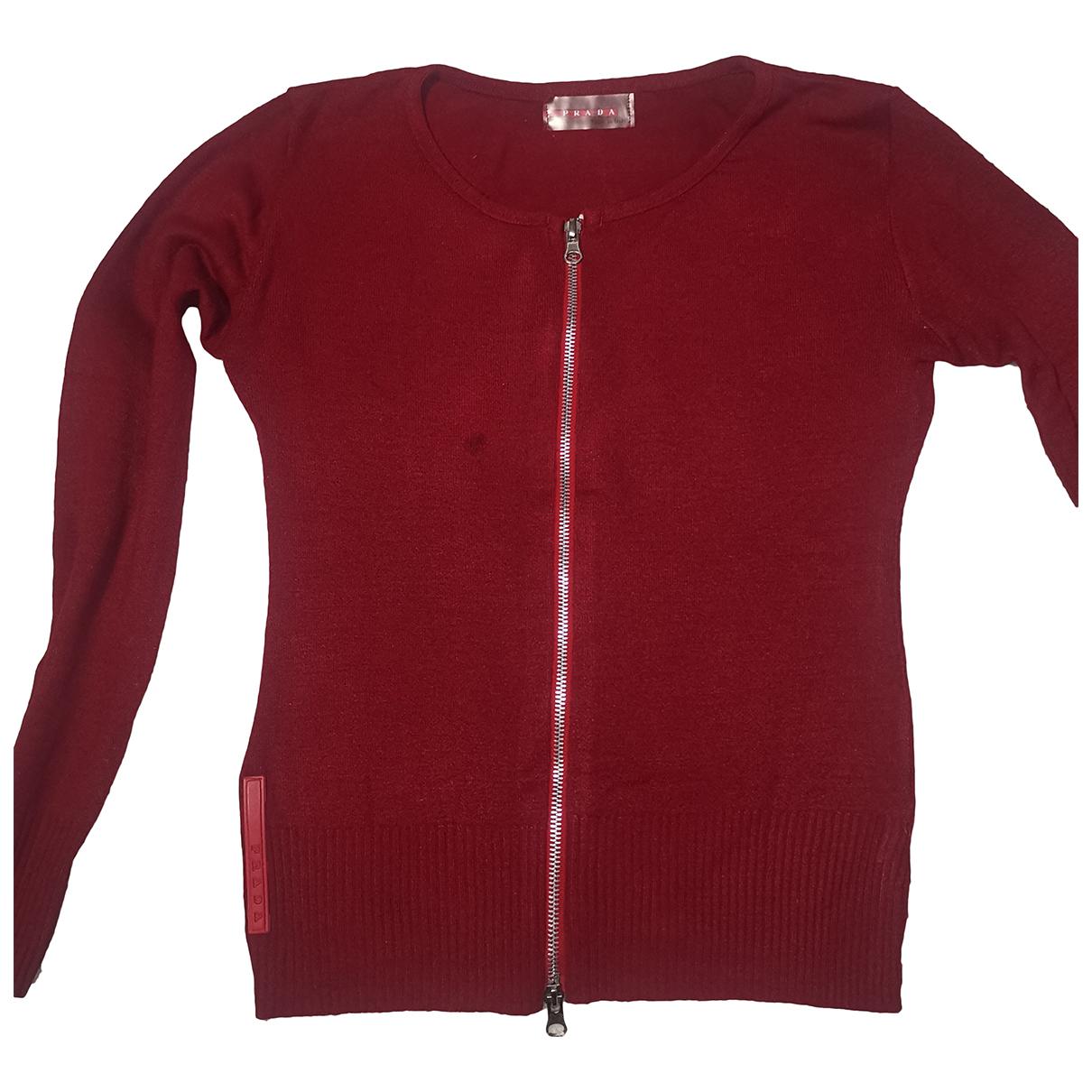 Prada - Pull   pour femme en laine - rouge