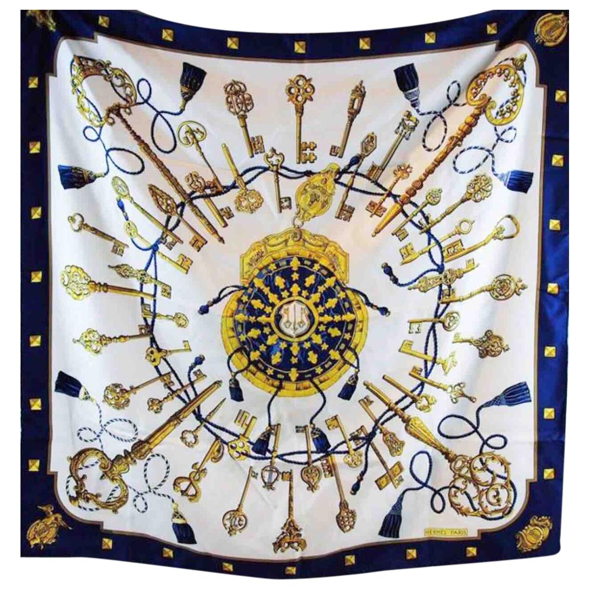 Hermes Carre Geant silk 140 Schal in  Blau Seide