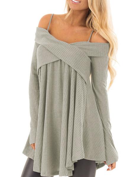 Yoins Grey Crossed Front Design Cold Shoulder Knit Sweater