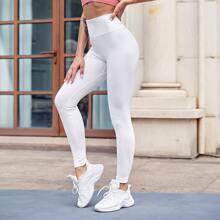 Sportliche Leggings mit breitem Taillenband
