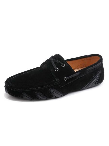 Milanoo Mocasines de hombre Mocasin Zapatos nauticos Zapatos de conduccion de ante