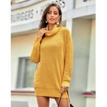 Einfarbiges Pullover Kleid mit hohem Kragen