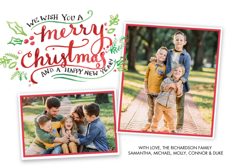Christmas Photo Cards 5x7 Cards, Premium Cardstock 120lb with Rounded Corners, Card & Stationery -Christmas Festive Holly Script by Tumbalina