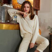 Turtleneck Drop Shoulder Rib-knit Sweater