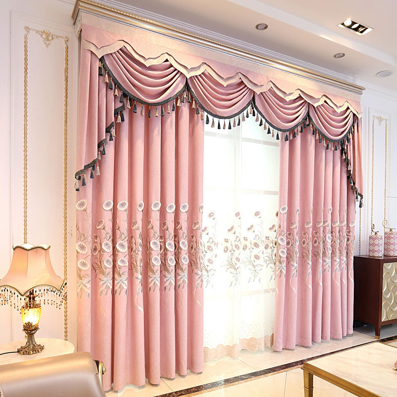 Pastoral Morning Glory Embroidered Blackout Curtains for Living Room Custom 2 Panels Pink Drapes No Pilling No Fading No off-lining