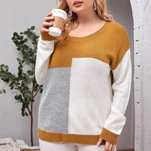 Plus Color-Block Drop Shoulder Sweater