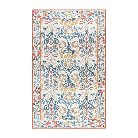 Rizzy Home Opulent Collection Juliette Floral Rectangular Rugs, One Size , White