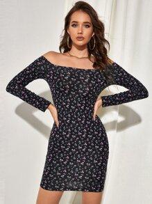 Off Shoulder Ditsy Floral Bodycon Dress